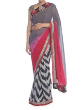 Grey, Red And Black Printed Saree - Saraswati