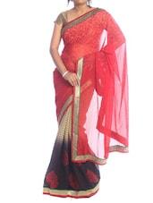 Chic Red And Black Georgette Saree - Saraswati
