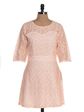 Peachy Pink Quarter Sleeve Lace Dress - Jiiah