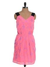 Scattered Blue On Pink Black Shoulder Strap Dress - Jiiah
