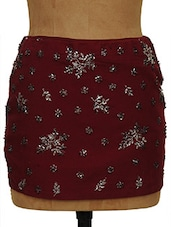 Sequined Maroon Mini Skirt - Ozel Studio