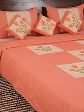Peach Bed Sheet With Pillow Cover Set - Looms Of India