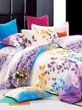 Purple, White And Blue Double Bedsheet With Pillow Cover - Bianca