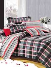 Green Check Print Double Bedsheet With Pillow Cover - Bianca