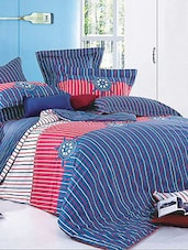 Blue And Pink Double Bedsheet With Pillow Cover - Bianca