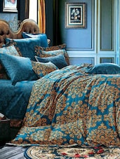 Blue Printed Double Bedsheet With Pillow Cover - Bianca