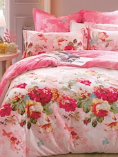 Pink Floral Double Bedsheet With Pillow Cover - Bianca