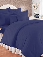 Navy Blue Double Bedsheet With Pillow Cover - Bianca