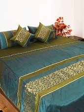 Green And Turquoise Blue Bed Cover Set Of Five - Bianca