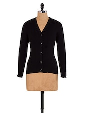 Solid Black Knitted Cardigan - Renka