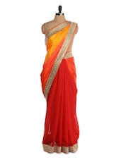Bright Red Saree With Gold Border - Istyledeals