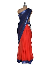 Navy Blue And Orange Saree - Istyledeals