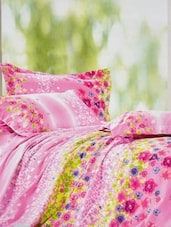 Pink Floral Print Double Bedsheet With Two Pillow Cover - Frábær