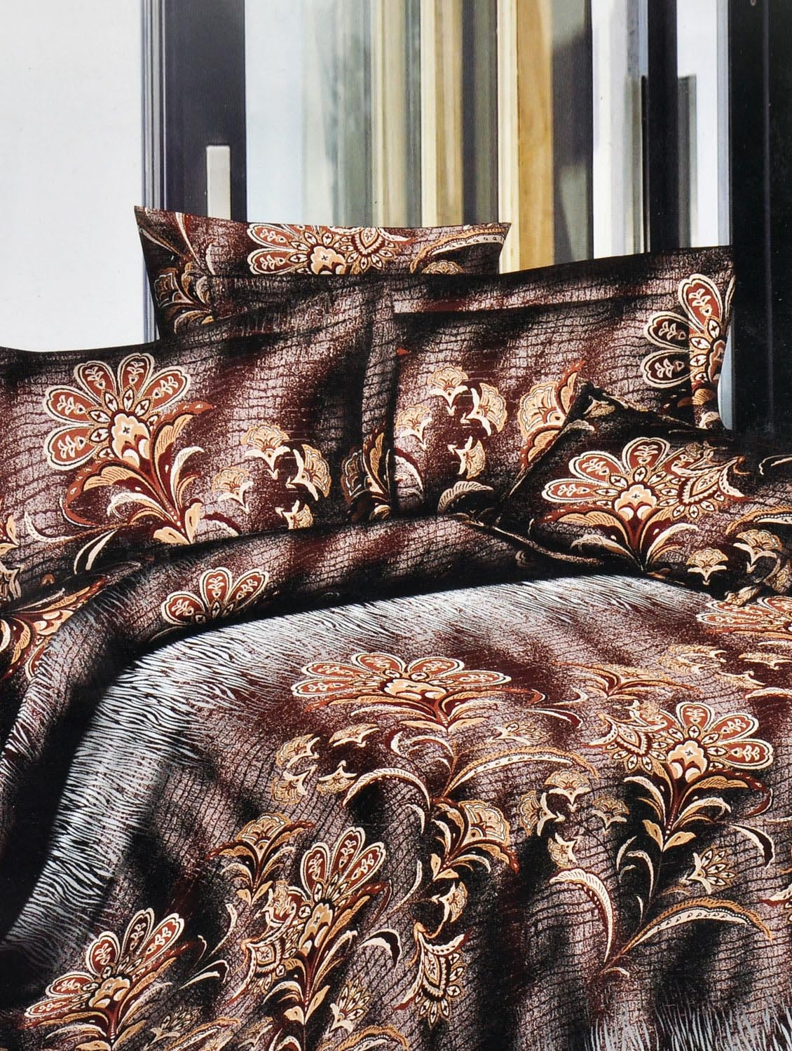 Brown Printed Double Bedsheet With Two Pillow Cover -  Frábær