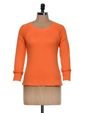 Orange  Full Sleeves Round Neck T-Shirt - Hypernation