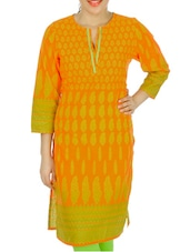 Orange And Yellow Printed Kurti - Anubha