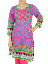 Pink And Blue Block Print Kurta - Anubha