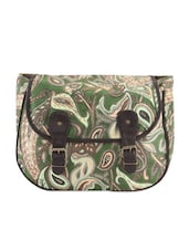 Moss Green Printed Cross Body Bag - Art Forte