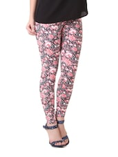 Pink And Grey Floral Print Leggings - By