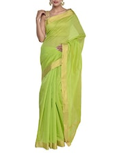 Bright Green Evening Saree - Purple Oyster