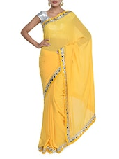 Chic Yellow Georgette Saree With Mirror Work - Purple Oyster