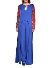 Solid Blue Uniquely Cut Evening Gown With Red Sleeves - BOLLYDIVA