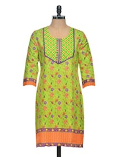 Green Floral Printed Kurta - Saving Tree