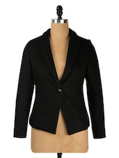 Black Single Button Blazer - Yell
