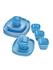 Blue Food Grade Plastic   Dinner Set   Set Of  18 - Cello