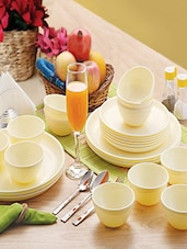 Beige Food Grade Plastic Dinner Set    Set Of  24 - Cello