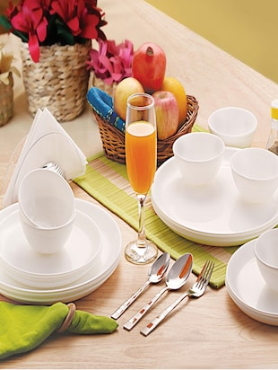 white Food grade Plastic   Dinner Set   set of  18 -  online shopping for Dinner Sets