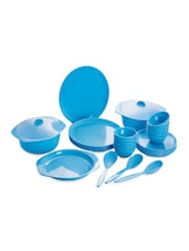 Blue Food Grade Plastic   Dinner Set   Set Of  32 - Cello