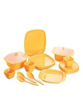 Yellow Food Grade Plastic   Dinner Set   Set Of  32 - Cello