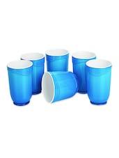 Blue Food Grade Plastic   Glass Set   Set Of  6 - Cello
