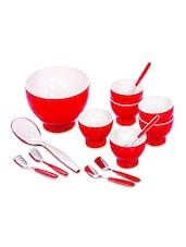 Red Food Grade Plastic   Ice Cream & Dessert Serving Set  Set Of  14 - Cello