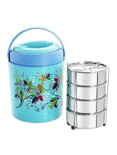 Blue Stainless Steel Lunch Carrier With Insulated Food Grade Plastic Body - By