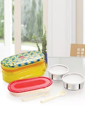 Yellow Food Grade Plastic & Stainless Steel Container/ Thermal Bag Lunch Carrier - Cello