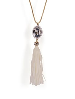 Long Necklace With Crystal Pendant - Tribal Zone