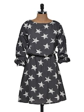 Grey And White Star Print Dress - Muah