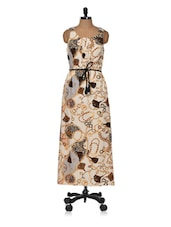 Off-white And Brown Printed Dress - Muah