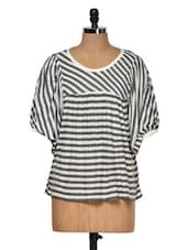 Grey And White Striped Top - Muah