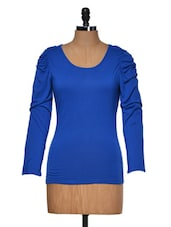 Blue Round Neck Full Sleeved Top - Muah