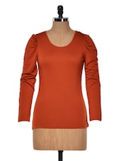 Rust Round Neck Full Sleeved Top - Muah