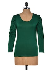 Dark Green Round Neck Full Sleeved Top - Muah
