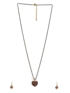 Studded Heart Pendant Necklace - Tribal Zone