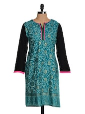 Blue Printed Kurta With Black Sleeves - NAVRITI