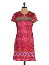 Pink Short Sleeve Printed Kurta - NAVRITI