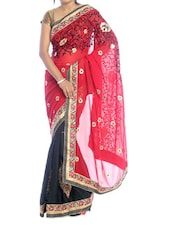 Red And Black Floral Saree - Suchi Fashion