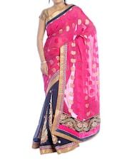 Pink And Blue Paisley Saree - Suchi Fashion