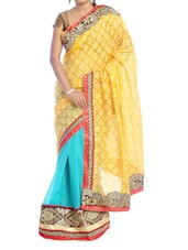 Yellow And Sky Blue Saree - Suchi Fashion